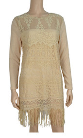 pretty angel Caramel layered Lace with Fringe Tunic