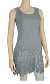 pretty angel Gray Crochet Linen-Blend Tunic