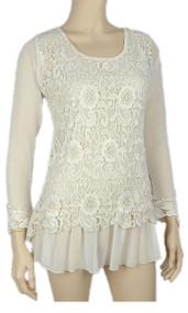 pretty angel Caramel Floral Crochet Scoop Neck Top