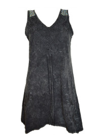 pretty angel Black Embroidered Sleeveless Tunic