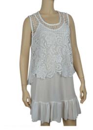 pretty angel White Sheer Crochet Sleeveless Top