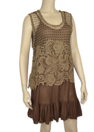 pretty angel Dark Brown Sheer Crochet Sleeveless Top