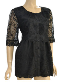 pretty angel Black Crochet Linen-Blend  Tunic