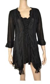 pretty angel Black Lace Trim Tunic