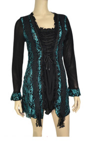 pretty angel Aqua & Black Lace Trim Tunic