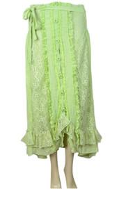 pretty angel Green / Light Green Linen Blend Skirt