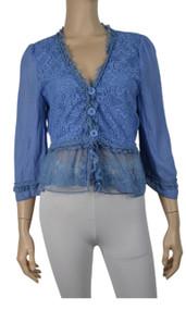 pretty angel Blue / Light Blue Linen Blend Jacket