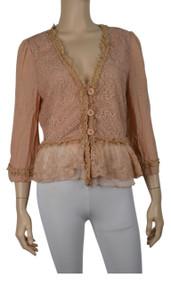 pretty angel Peach / Light Peach Linen Blend Jacket
