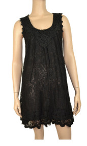 pretty angel Black Crochet Lace Linen Blend Tunic
