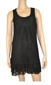 pretty angel Black Lace Linen - Blend Tunic Dress
