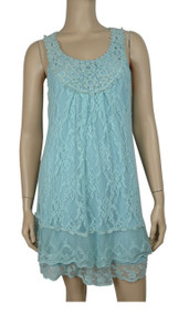 pretty angel Aqua Lace Linen - Blend Tunic Dress