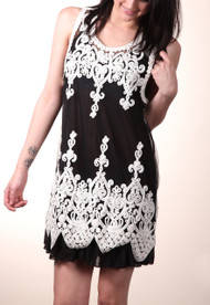 pretty angel Black & White Sheer Embroidered Sleeveless Tunic