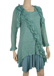Pretty Angel Aqua Ruffle Layered Linen Blend Tunic