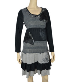 Pretty Angel Gray & Black Patchwork Linen Blend Dress