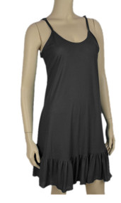Pretty Angel Black Ruffle Silk Blend Tunic with Adjustable Strap