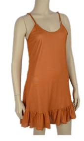 pretty angel Orange Ruffle Silk Blend Tunic with Adjustable Strap
