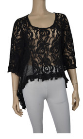 Pretty Angel Black Sheer Lace Tops with Sidetail