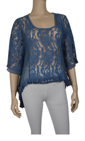 Pretty Angel Blue Sheer Lace Tops with Sidetail