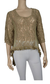 Pretty Angel Brown Sheer Lace Tops with Sidetail