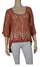 Pretty Angel Rust Sheer Lace Tops with Sidetail