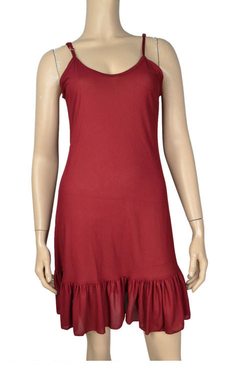 Pretty Angel Dark Red Ruffle Silk Blend Tunic with Adjustable Strap