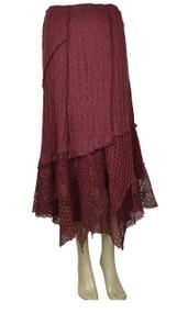 Pretty Angel Dark Red Linen Blend Maxi Skirt