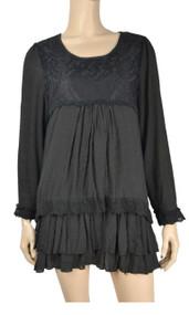 Pretty Angel Black Lace Linen Blend Layered Tunic