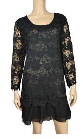 Pretty Angel Black Crochet Cotton Blend Dress