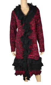 Pretty Angel Red & Black Ruffle Front Silk-Wool Blend Sweater