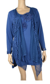 Pretty Angel Dark Blue Crochet Layered Tunic Plus