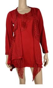 Pretty Angel Red Crochet Layered Tunic Plus