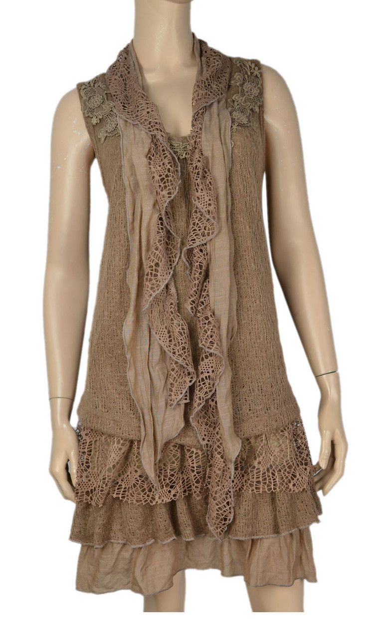 pretty brown sleeveless layered tunic with matching