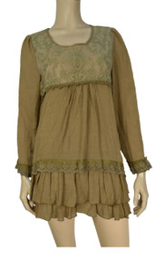 Pretty Angel Brown Lace Linen Blend Layered Tunic