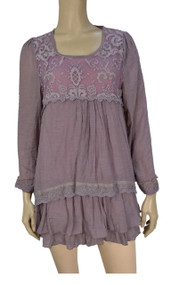 Pretty Angel Mauve Lace Linen Blend Layered Tunic