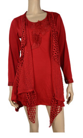 Pretty Angel Red Crochet Layered With Decorative Flower Tunic