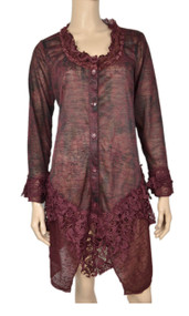 Pretty Angel Burgundy Floral Print Jacket with Lace Bottom
