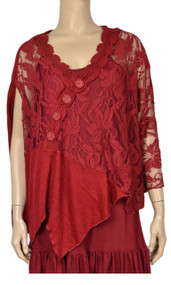 Pretty Angel Dark Red Sheer Off Shoulder Top with Decorative Button