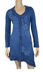 Pretty Angel Blue Applique Linen Blend Dresses