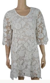 pretty angel Cream Crochet Linen - Blend Tunic