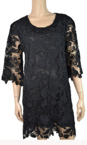 pretty angel Black - Crochet Linen - Blend Tunic