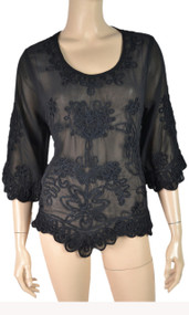 pretty angel Black Pull Over Embroidered Top
