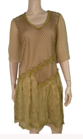 pretty angel Brown Silk Blend Dresses With Lace