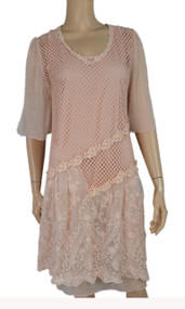 pretty angel Peach Silk Blend Dresses With Lace