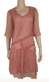 pretty angel Rust Silk Blend Dresses With Lace