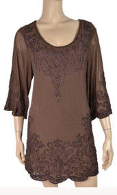 pretty angel Coffee Pull Over Embroidered Tunics