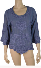 pretty angel Blue Pull Over Embroidered Top