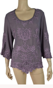 pretty angel Mauve Pull Over Embroidered Top
