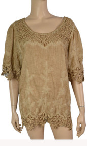 pretty angel Brown Linen Blend Tops with Lace
