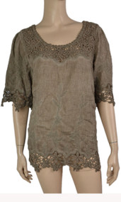 pretty angel Coffee Linen Blend Tops with Lace