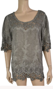 pretty angel Gray Linen Blend Tops with Lace